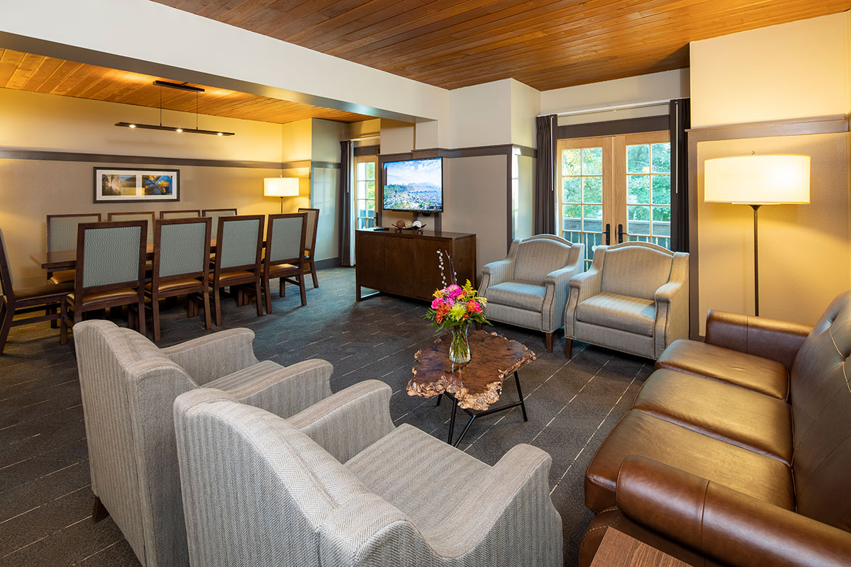 A lounge area with plenty of couches, comfy chairs, a table with dining chairs, a cabinet, & tv