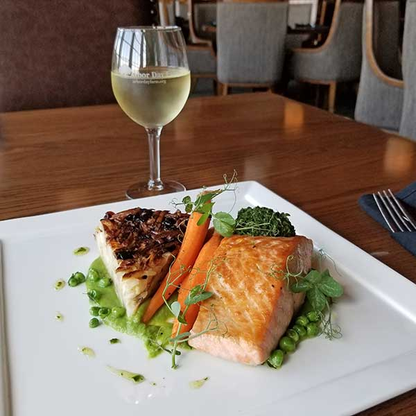 Gourmet Salmon Dish with White Wine
